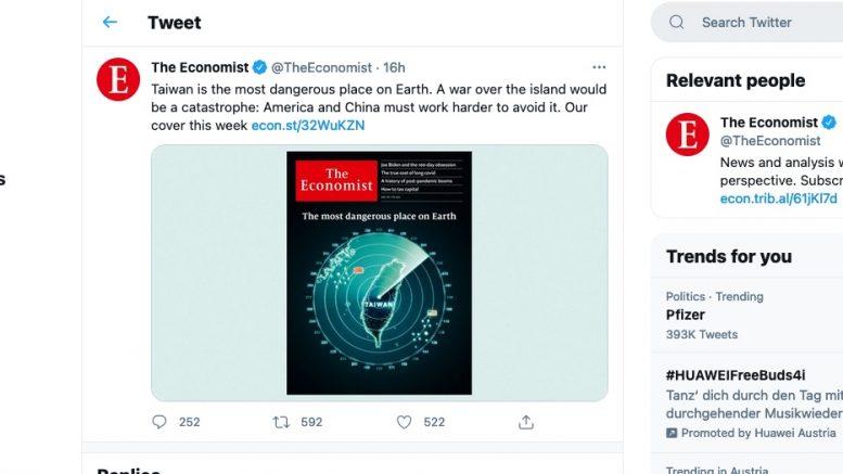 Economist on Twitter. 30. April 2021. Screenshot.