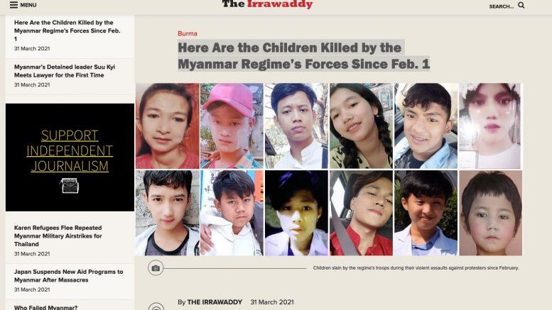 Immer mehr Kinder sterben bei den Protesten in Myanmar. Irrawaddy, screenshot 1.4.2021