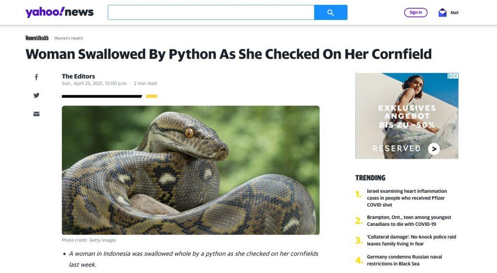 Yahoo News, Screenshot. 27. April 2021.