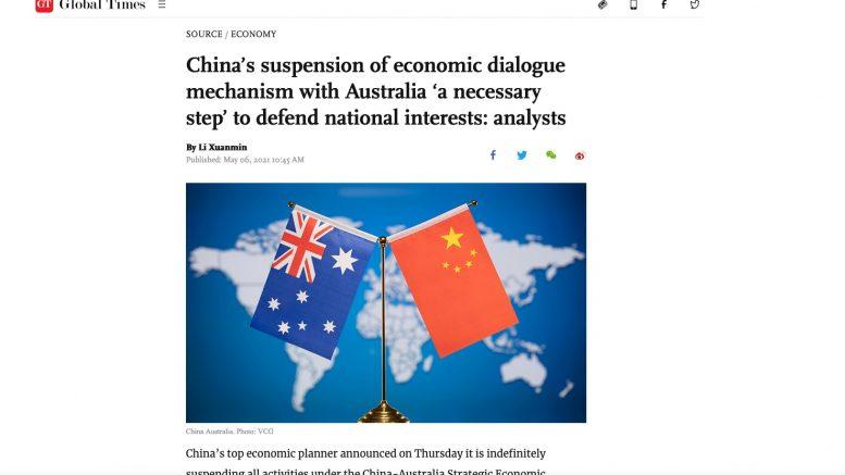 Global Times. 6. Mai 2021.-Screenshot.