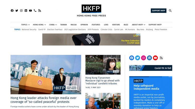 Hong Kong Free Press. 11. Mai 2021. Screenshot.