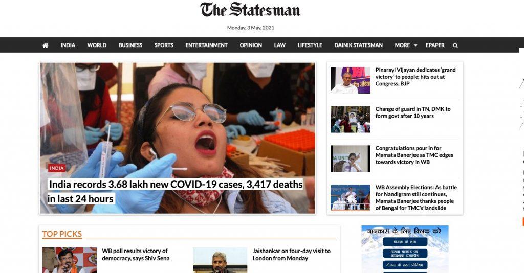 The Statesman 3. Mai 2021. Screenshot