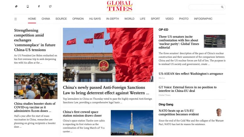 Global Times. 11. Juni 2021. Screenshot.
