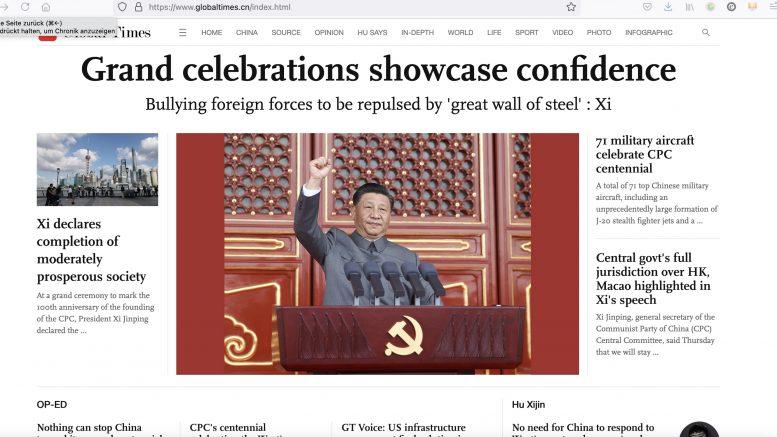Global Times: China. 1. Juli 2021. Screenshot.