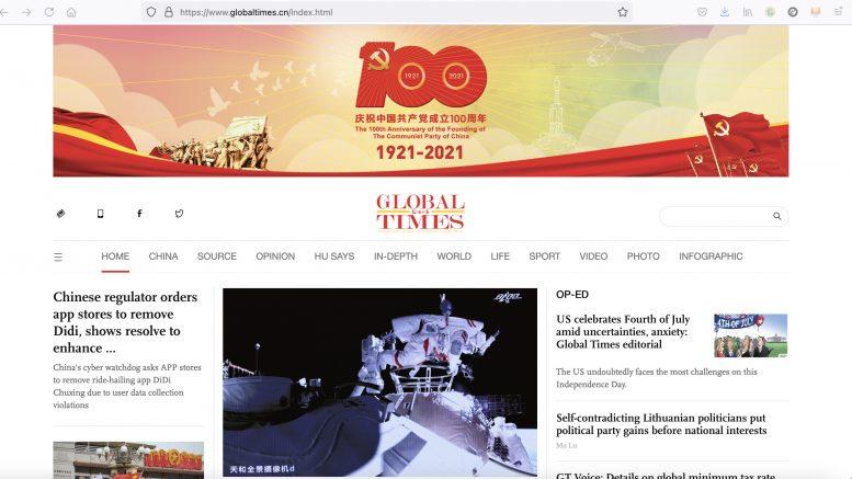 Global Times China. 5. Juli 2021. Screenshot.