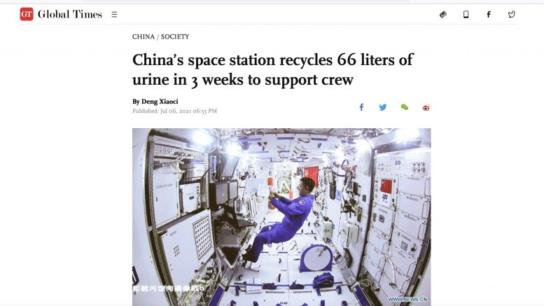 Global Times/ China. 6. Juli 2021. Screenshot.