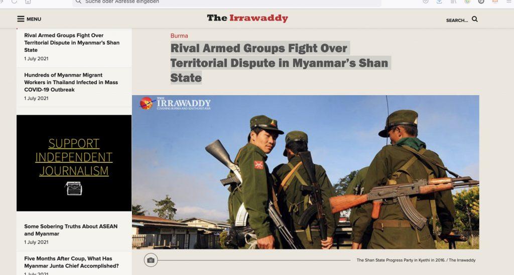 The Irrawaddy. 1. Juli 2021. Screenshot.